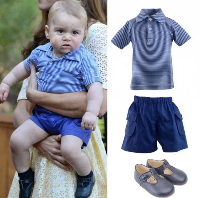 On a trip to the zoo in Australia he wore a Rachel Reilly striped polo shirt, £32, and poc...