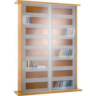 £55 Stores Up To 255 DVDs   DVD And CD Sliding Glass Door Storage Unit