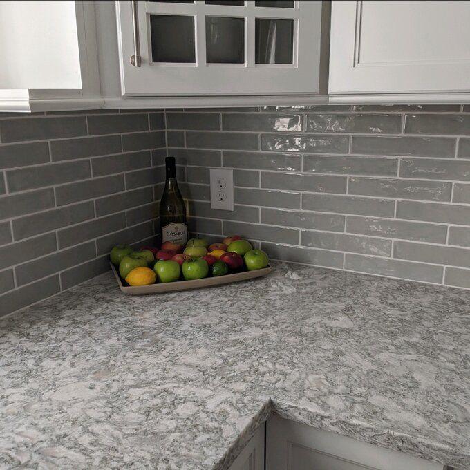 Ivy Hill Tile Newport Polished 2 X 10 Ceramic Subway Tile Gray Kitchen Backsplash Gray Subway Tile Backsplash Contemporary Kitchen Backsplash