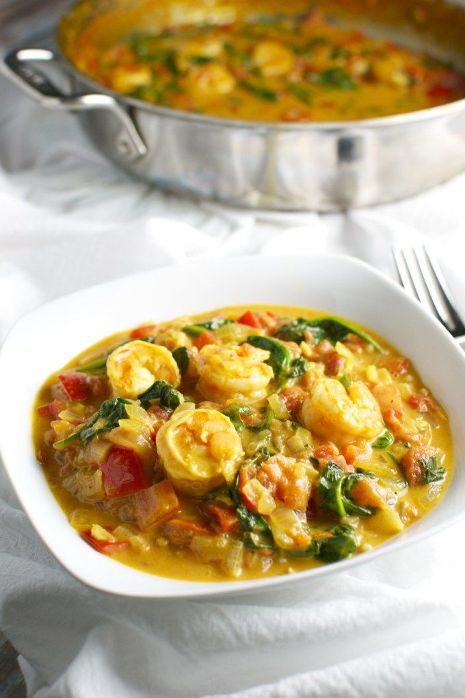 Coconut Shrimp Curry with Red Pepper and Spinach | stuckonsweet.com. Rebecca and Edward really Loves this!!