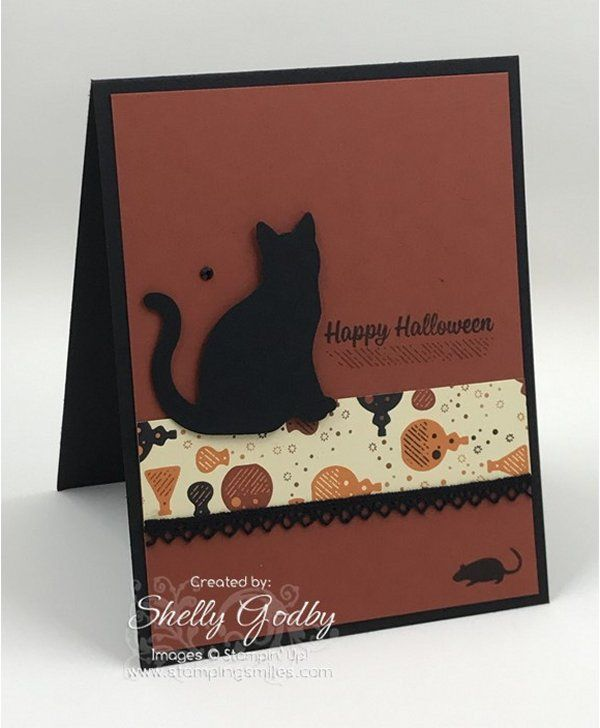 Stampin' Up! Spooky Cat card designed by Shelly Godby of www.stampingsmiles.com with the Stampin' Up! Spooky Cat Stamp Set and Stampin' Up! Cat Punch