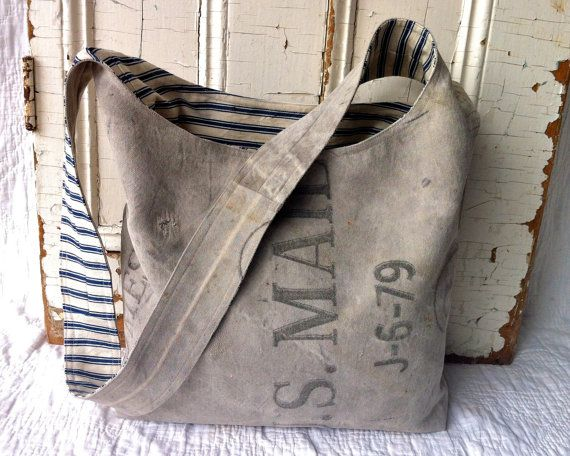 US MAIL  reconstructed vintage mail sling bag by yahbag on Etsy, $260.00
