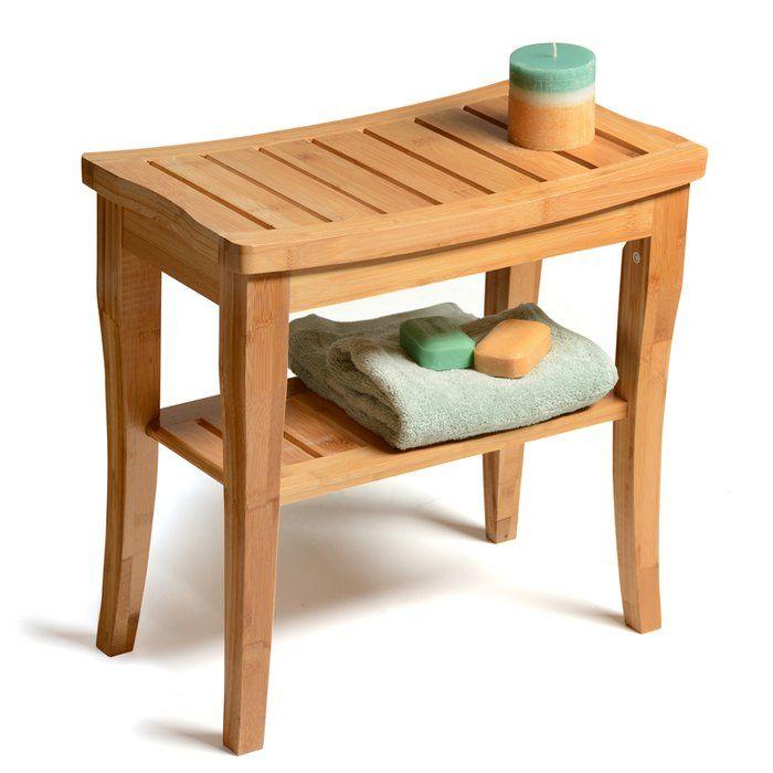17 5 W Bamboo Shower Bench Teak Shower Bench Shower Seat Storage Bench Seating