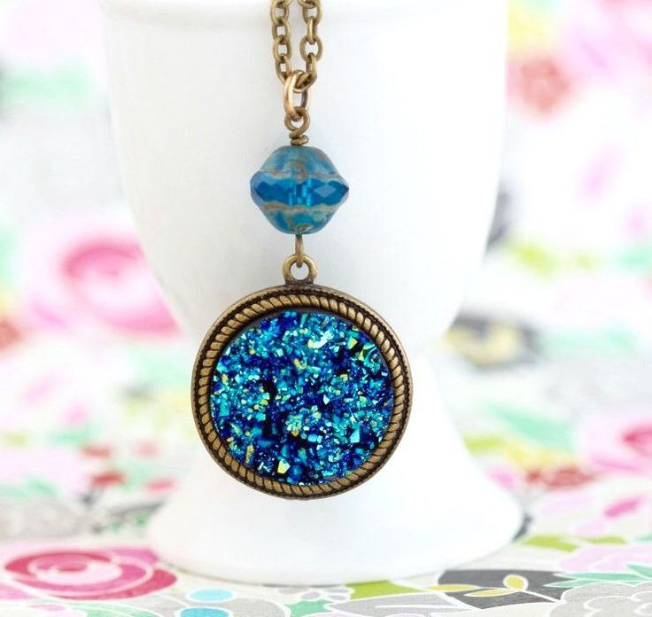 Blue Druzy Pendant Necklace on Brass Chain - Blue Glass Bead - Rough Surface - Faux Druzy - Girlfriend Gift - Druzy Necklace