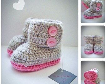 Baby niña rosa Crochet botines recién nacido por DolcelinaShop