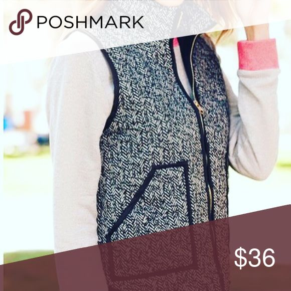Black and white vest Printed fabric not twill Jackets & Coats Vests