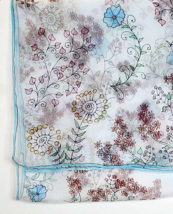 Blue silk scarf Handpainted scarf small flowers by AstaSilkWorld