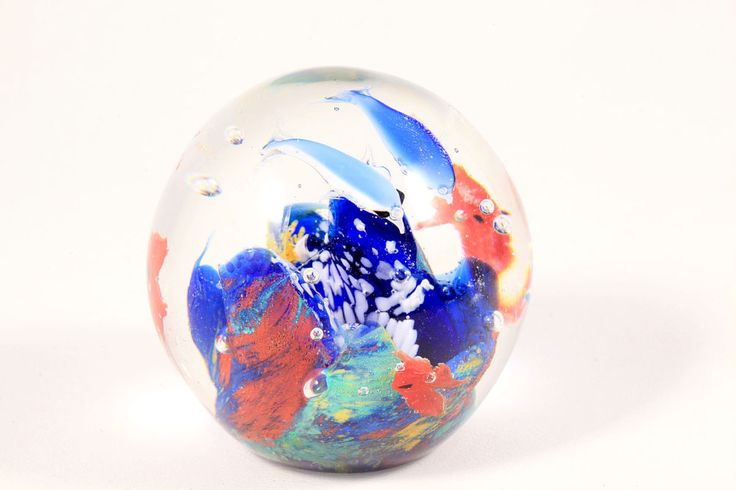 Art Glass Aquarium Blown Round Fish Tank Paperweight with Dolphins Estate Murano