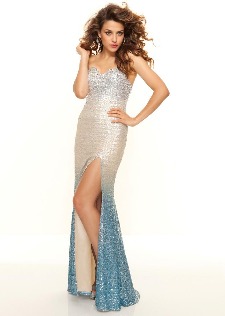 Paparazzi by Mori Lee 93090 - Beaded Ombre Prom Dress in Light Aqua - ThePromDresses.com