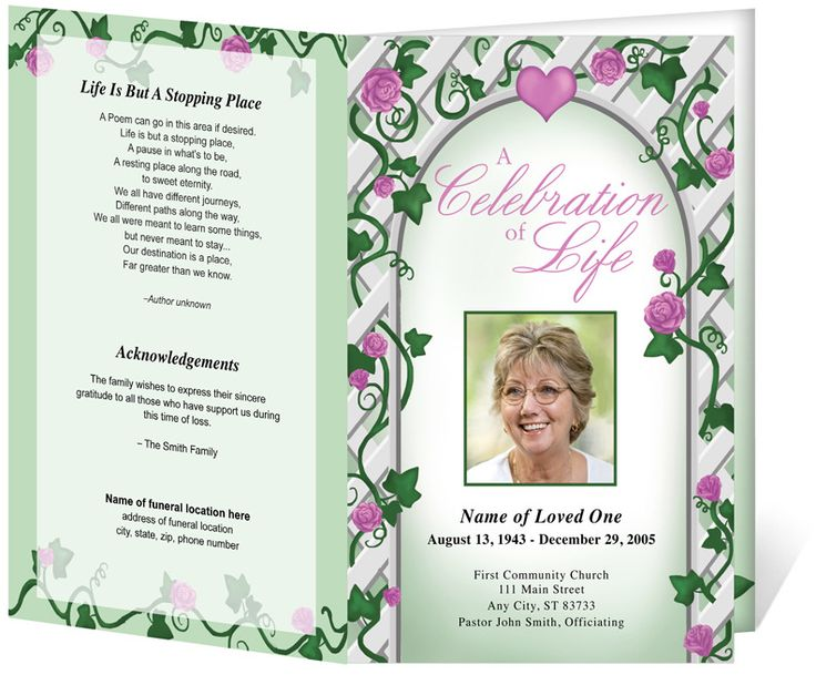 12 best images about Funeral Program Templates – Program for a Funeral