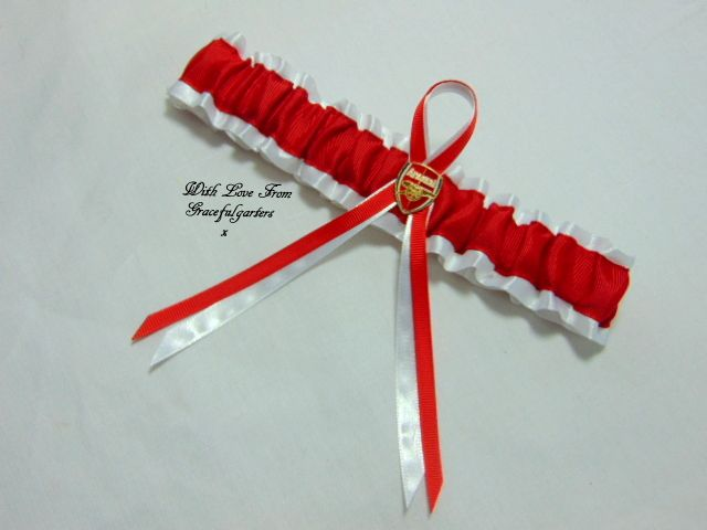 Arsenal Football Team Bridal Wedding Garter. http://www.gracefulgarters.co.uk/product/arsenal-football-team-bridal-wedding-garter/
