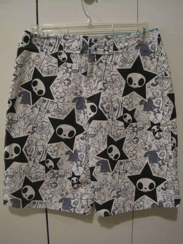 Tokidoki Mens Board Shorts Til Death Do Us Part Adios Skeletrino Sz 32 Rare #Tokidoki #BoardShorts