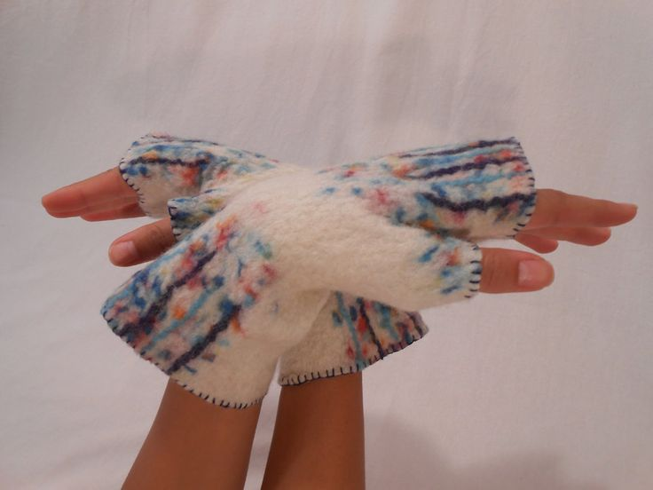 Felted fingerless gloves, Felt arm warmers, Мulticolor gloves, Winter, autumn accessory by BuriFelt on Etsy
