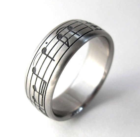 Personalized Music Ring - Custom Titanium Ring - Geekery Music Gifts for Him and Her - Dad - Father's Day - Sheet Music Jewelry - Rickson