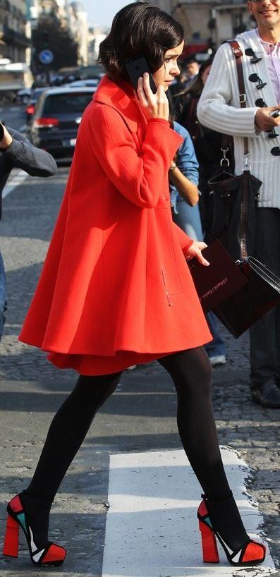 super cute red swing coat on Miroslava Duma #pfw #streetstyle
