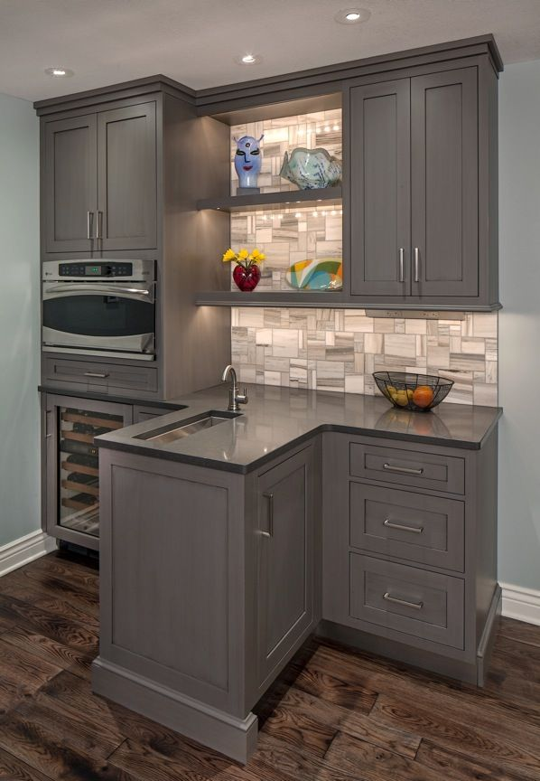 Functional Bar Brookhaven Cabinets In Vintage Slate