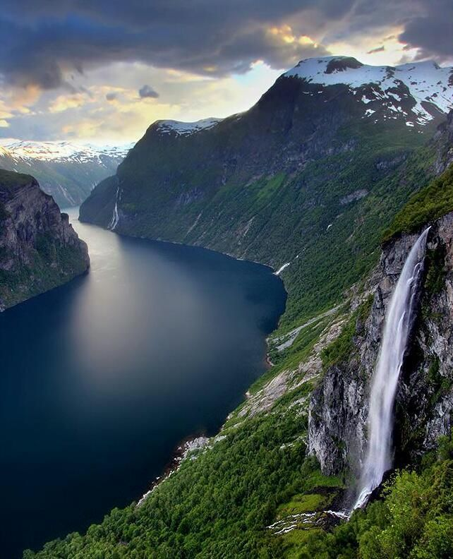Geiranger Fjord, Norway--This reminds mr of what Aireland should like...perhaps near the Mellarkian border with the river and all?