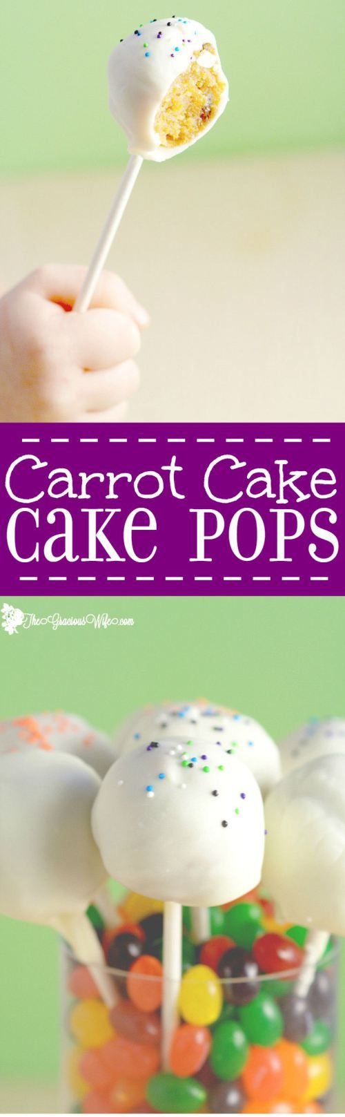 Carrot Cake Pops recipe - how to make cake pops with carrot cake, cream cheese frosting, and white chocolate. These cake pops are so moist and delicious!