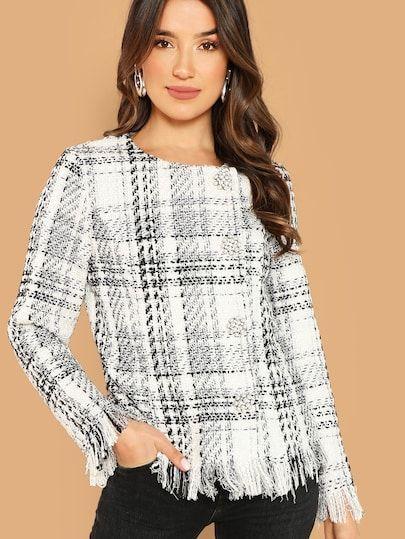 cf497a20c Button Up Raw Hem Tweed Coat