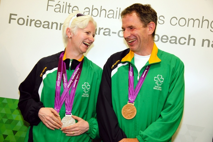 Paralympian medallists Catherine Walsh and James Brown at the homecoming for athletes at Dublin Airport, September 10, 2012.