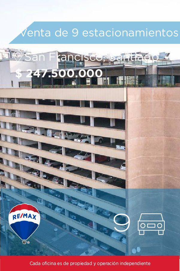 [#Venta de #Estacionamiento] - Venta de 9 estacionamientos en Santiago Centro, San Francisco 75 👉🏼 http://www.remax.cl/1028055002-11 #propiedades #inmuebles #bienesraices #inmobiliaria #agenteinmobiliario #exclusividad #asesores #construcción #vivienda #realestate #invertir #REMAX #Broker #inversionistas #arquitectos #venta #arriendo #casa #departamento #oficina #chile