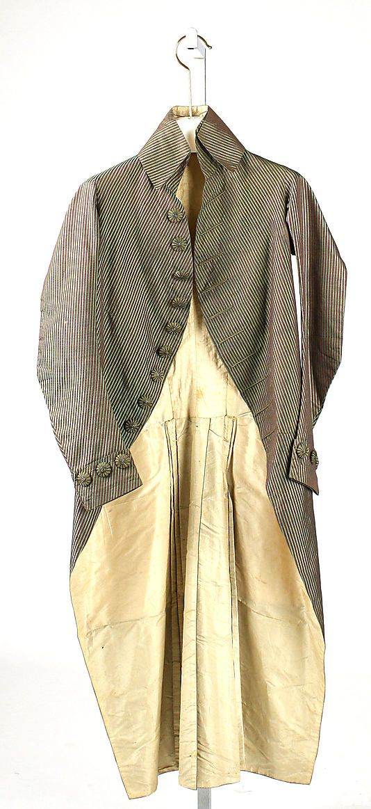 Coat  Date:     1787–89 Culture:     probably French Medium:     silk, cotton, linen Dimensions:     Length at CB: 46 1/2 in. (118.1 cm) Cre... Accession Number:     C.I.59.18.1