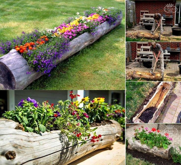 log planter-cool idea for the back yard!