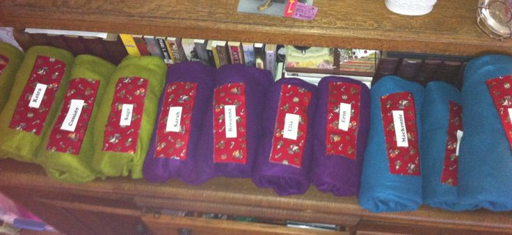 Camp blankets- enrolment gift- Brownies names ironed on fabric and adhered to fleece blanket. Kids can now sew on extra badges!