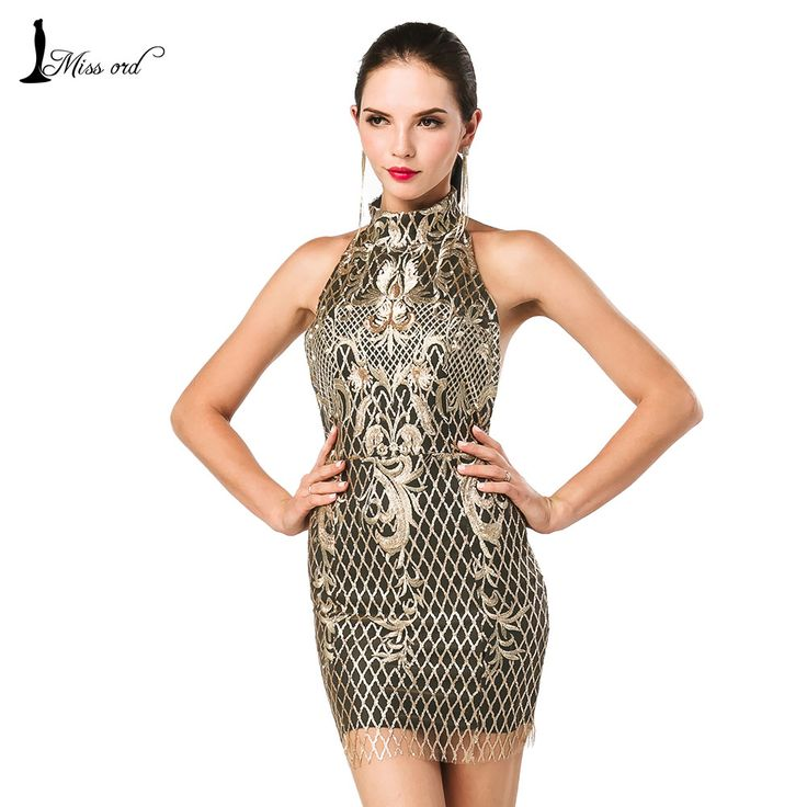 Free Shipping Missord 2016 Sexy tight o-neck sleeveless sequin and embroidery dress FT4631   Diva's fashion store