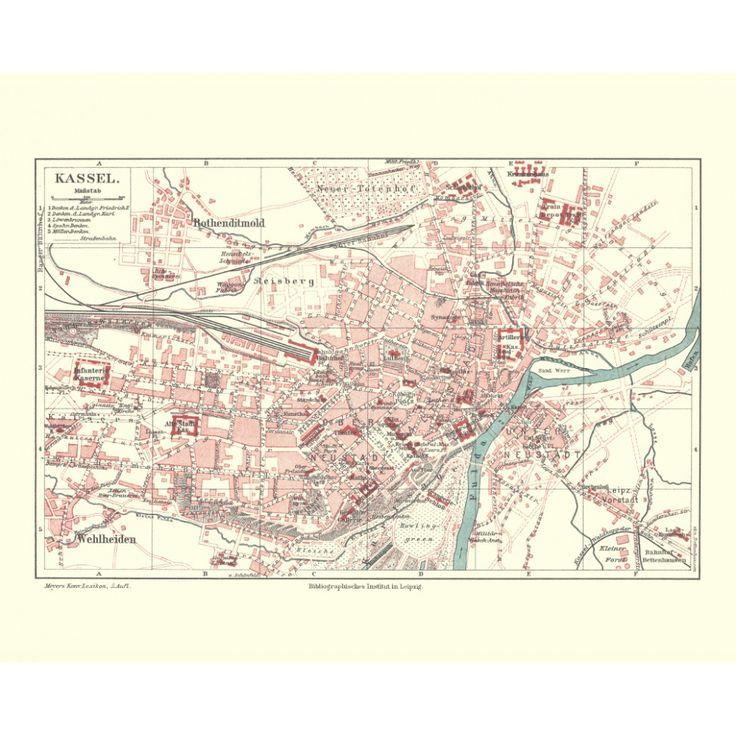 Kassel: old city print on a handmade paper. Elegant vintage map reproduction.