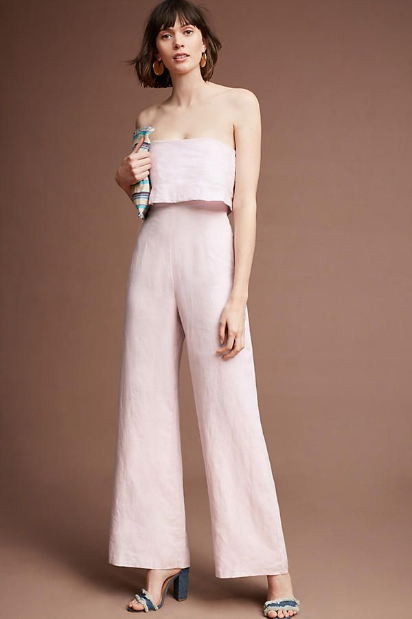 Slide View: 2: Popover Linen Jumpsuit