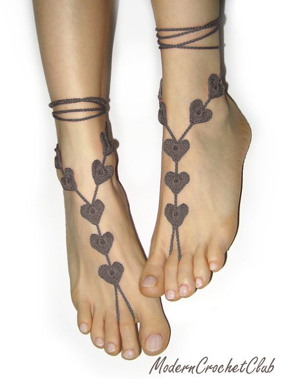 Barefoot Sandals Brown Heart, Valentine's Day gift, wedding accessory, yoga, anklet, beach and pool party, nude shoes