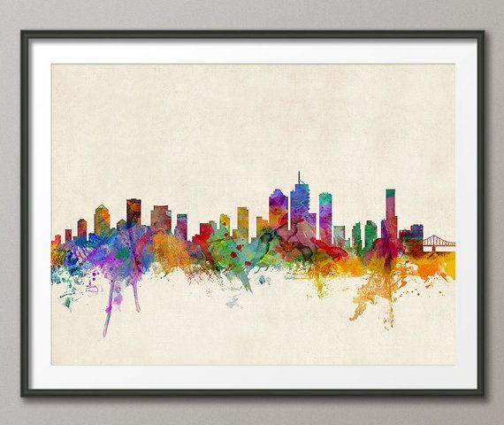 Brisbane Australia Skyline Art Print 716 by artPause on Etsy, £12.99