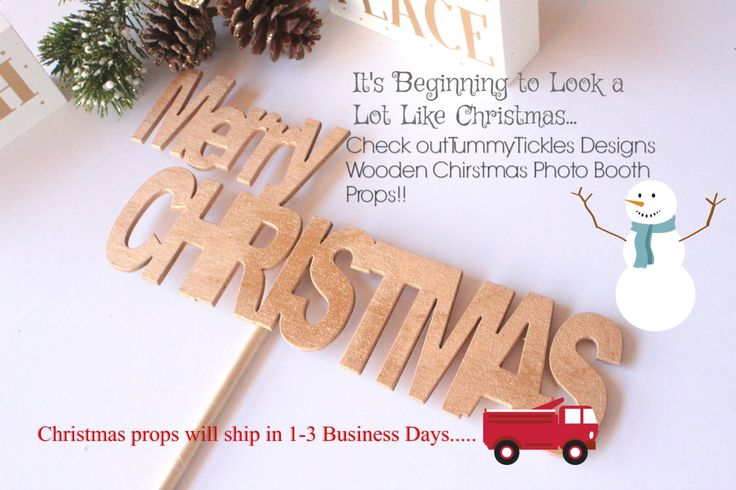 Merry Christmas Wooden Word Photo Booth Prop