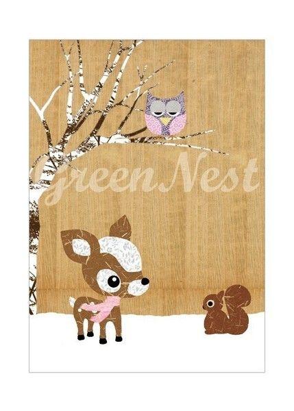 Poster mit Waldtieren - Reh, Eule, Eichhörchen von VintagePaperGoods - GreenNest auf DaWanda.com