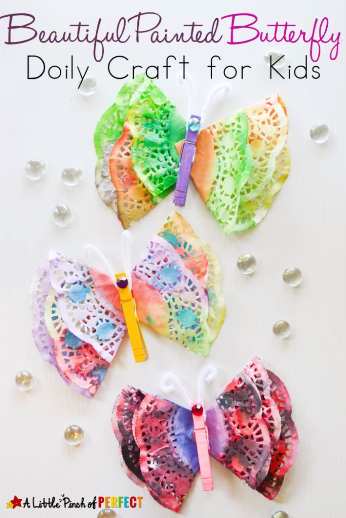 Beautiful Painted Butterfly Doily Craft for Kids from A Little Pinch of Perfect