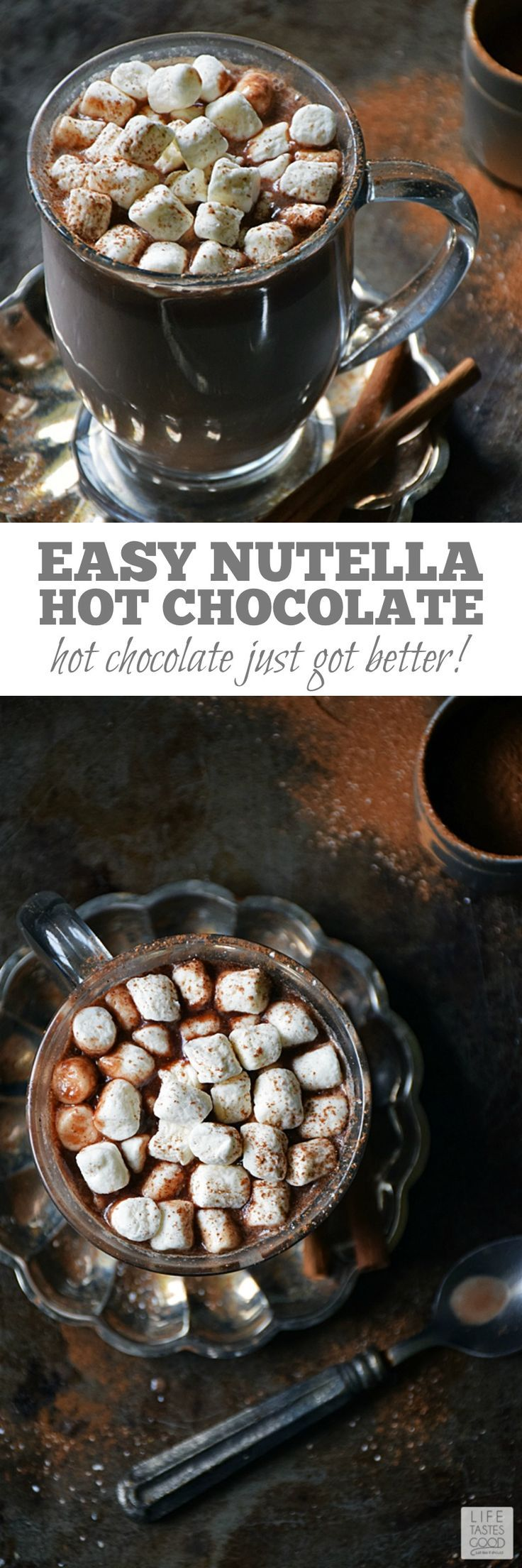 Hot chocolate just got better, y'all! Easy Nutella Hot Chocolate | by Life Tastes Good is a splendid treat I just want to sip on forever! With just two ingredients it's easy to whip up anytime! #LTGrecipes