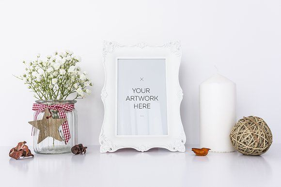White Frame with Candle Mockup by DIGITAL INFUSION on @creativemarket