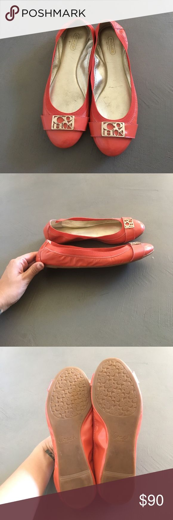 Coach Flats Coach flats in coral. Gold toe detailing. Great tread. Coach Shoes Flats & Loafers