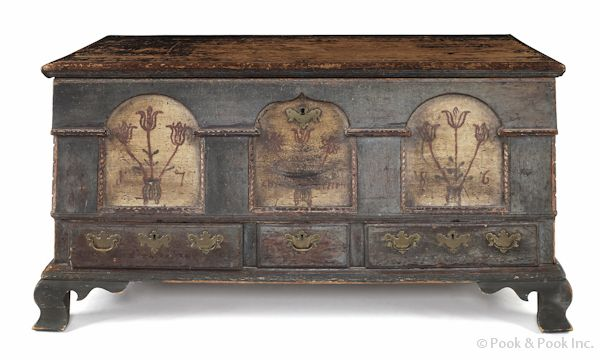 "Lancaster, Pennsylvania painted poplar architectural dower chest, dated 1786, the façade with three floral decorated tombstone panels and barber pole surround, above three drawers, the interior with original strap hinges and a watercolor fraktur of a Hessian soldier on horseback, 27 1/2"" h., 50 1/2"" w."