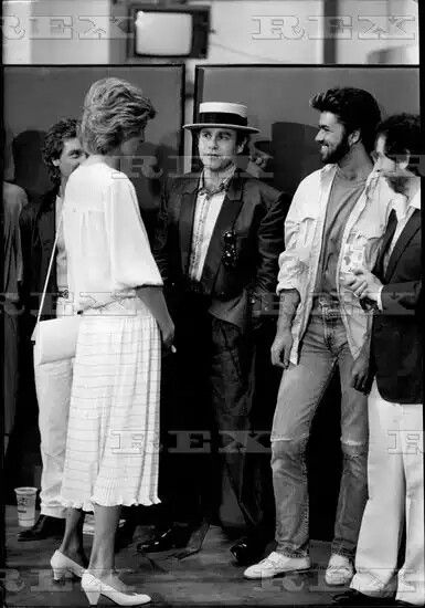 The Princess Of Wales Chats To Elton John And George Michael At The Live Aid Concert At Wembley Stadium 13 Jul 1985