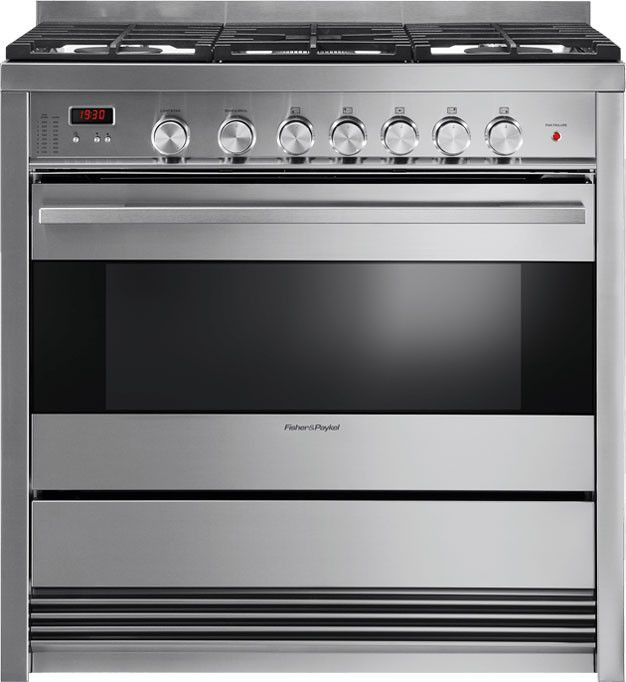 Fisher & Paykel OR36SDBMX1 36 Inch Freestanding Gas Range with 5 Sealed Burners, 3.6 cu. ft. Convection Oven Capacity, Manual Clean and Storage Drawer