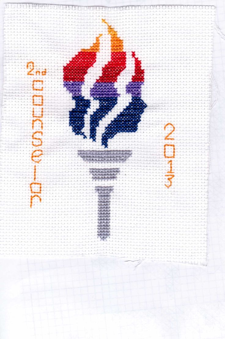 Cross Stitch Young Women Torch