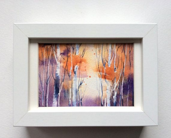 Lovely autumn scene with aspen trees in this unique original watercolor postcard handpainted with artist quality watercolors. Autumn trees has fresh oranges and purples in this small painting.