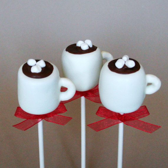 12 Hot Chocolate or Coffee Mug Cake Pops - for snow days, winter party or wedding favors, hostess or teacher gift