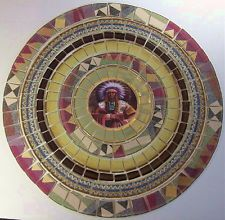 CHINA MOSAIC TILE SET SOUTHWESTERN RUSTIC TABLE TOP INDIAN CHIEF 15 5/8""