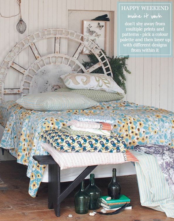 Bright.Bazaar- layering prints within the same color palette: Bedrooms Decoration, Beaches House, Guest Bedrooms, Beds Head, Spare Bedrooms, Bedrooms Design, Headboards Idea, Bedrooms Headboards, Clocks Faces