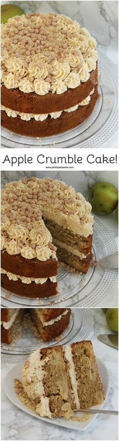 Apple Crumble Cake!! Apple Brown Sugar Crumble Sponge, and Cinnamon Buttercream Frosting!