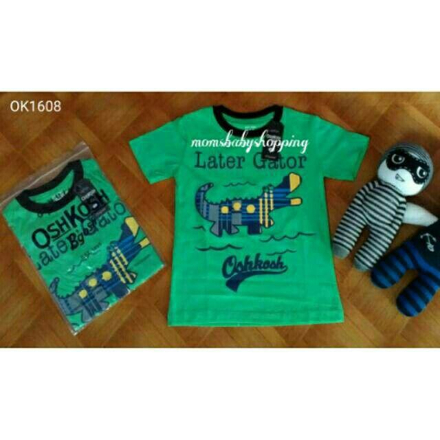 Kaos anak laki laki branded oshkosh aligator green
