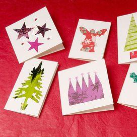 Cartoncino bianco, forbici, colla e ritagli di vecchie carte per i regali... non serve altro per realizzare questi simpatici bigliettini d'auguri.